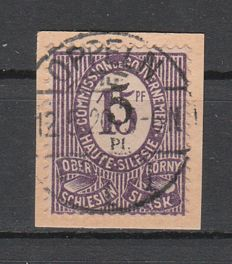 Upper Silesia - Postage stamp Numerals false overprint 5Pf on 15 Pf dark violet on piece checked Dr. Müller - Michel 10F
