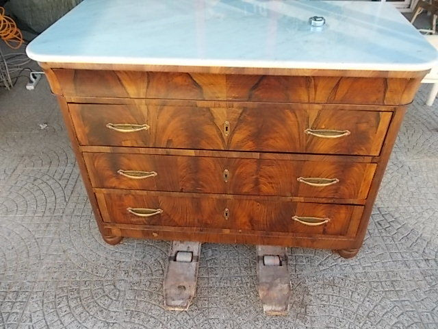 Walnut commode with three drawers and a hidden one with white marble ...