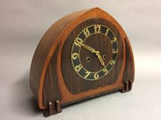 Art Deco wooden mantel clock with 8-day movement