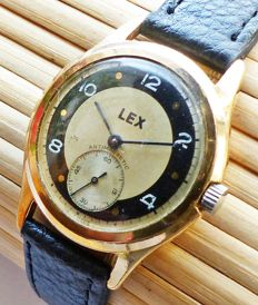 LEX Military Schweiz 15Rubies -- men's wristwatch from the 40s