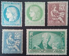 France 1870-1935 – Selection of 5 stamps, one of which is signed Calves – Yvert numbers 37, 53, 113, 114 and 303.