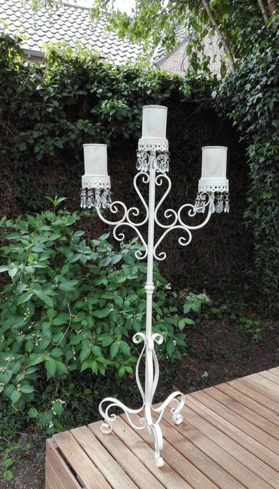 Moroccan wrought iron garden candle holder with crystal