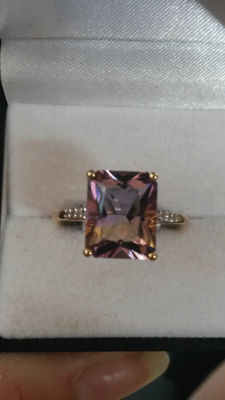 Genuine & Exciting 4.32ct Ametrine (from one source) gold Coctail Ring. Unique.