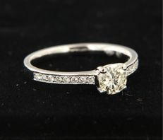 14 kt white gold ring set with a central, brilliant cut diamond and 16 brilliant cut diamonds on the shank, approximately 0.64 carat in total, ring size 17 (53)
