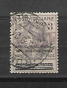 Italy 1924 - Parastatal bodies - Overprinted Assoc Naz Mutil and Inv di Guerra - 3 Lire Sassone n. 76 -