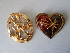 Lot of two brooches, one signed by Inès de La Fressange and the other by Christian Lacroix