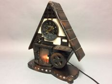 Music box and electric clock in the shape of a châlet with a  fireplace