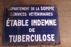 European oil company plaque plus a vintage enamelled plaque from veterinary services of the Department of Somme