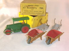Dinky Toys - various scales - Aveling Barford Diesel Roller No. 25p, 2 x Wheelbarrow No. 105b and Marrel Multi-Bucket Trade Box with 2 Buckets No. 788
