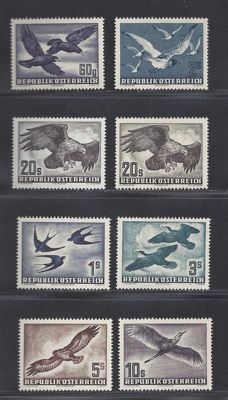 Austria 1950/1953 - Birds - Michel 955/956, 968 x+y and 984/987