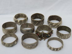 Collection of ten decorated bracelets - Morocco - Middle East -  20th century.