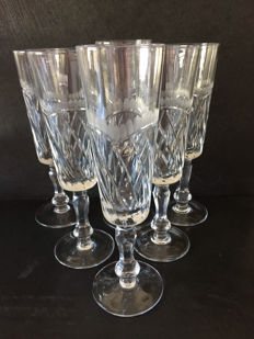 Crystal, 6 champagne flutes