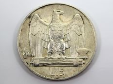 """Kingdom of Italy – 5 Lire, 1926, """"Aquilotto"""", Victor Emanuel III, with thick edges on the front and back – Silver"""