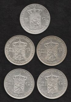 The Netherlands – 2½ guilder 1847/1931 Willem II and Wilhelmina (5 coins) – silver