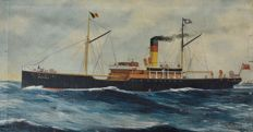 A J Jansen (19th/20th century) - The tramp steamship Mersey in fair winds
