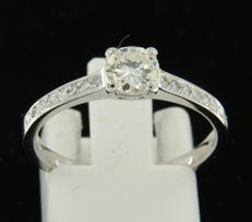 14 kt white gold ring set with a central, brilliant cut diamond and 16 brilliant cut diamonds on the shank, approx. 0.64 carat in total, ring size 17 (53)