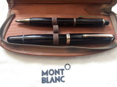 Montblanc Meisterstück Duo-set - No. 342 fountain pen and 372 mechanical pencil - 14 K golden nib (OM) - in leather case