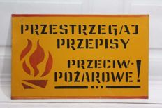 Follow Fire Regulation - Metal Warning Sign - 1970 Poland