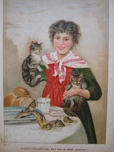 Book graphics; Lot with 4 prints featuring cats - c. 1850 / 1900