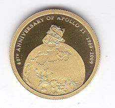 "Cook Islands – 10 Dollars 2009 ""40th Anniversary of Apollo 11, 1969-2009"" – Gold"