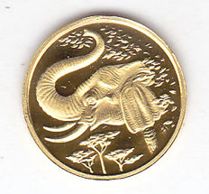 "Somalia – 200 Shillings 2005  ""Elephant"" – gold"