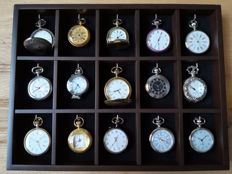 Collection of 15 quartz pocket watches with luxury faces