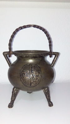 Antique three feet cauldron, emblazoned, 18th century