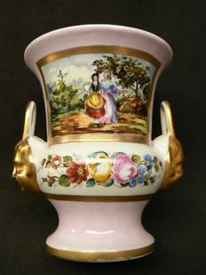 Vieux Paris - beautiful hand-painted empire vase