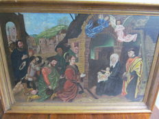 P.Popelier - Religious painting on canvas in wooden frame - Belgium - 19th century