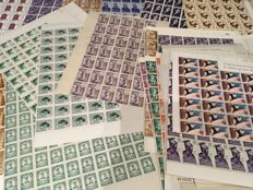 Spain 1940–1966 – lot of stamps on sheets