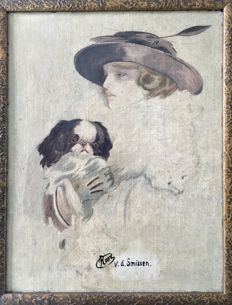 Rose v.d. Smissen - Distinguished Lady with dog and stola - Art Deco oil painting on board