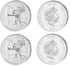 Niue - 2x$2 - Disney Mickey Mouse - Steamboat Willie 2017 - 2 pieces a 1 oz Niue Island 999 silver coin