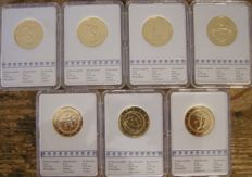 Europe - 2 Euro 2004/2015 (7 pieces) in slabs - 24 kt gold-plated