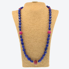18 kt .750 yellow gold – Sapphire and ruby necklace – Length: 73 cm