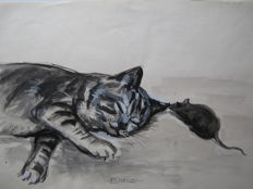 Original work; Lanfranco Scorticati - Sleeping cat with curious mouse - c. 1950