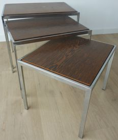 Designer unknown – Vintage set of nesting tables, made from chrome, wenge wood and white formica.