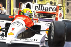 Ayrton Senna McLaren Honda MP4/6 1991 F1 Car ORIGINAL Oil Painting on Canvas hand-made by Artist Andrea Del Pesco + COA.
