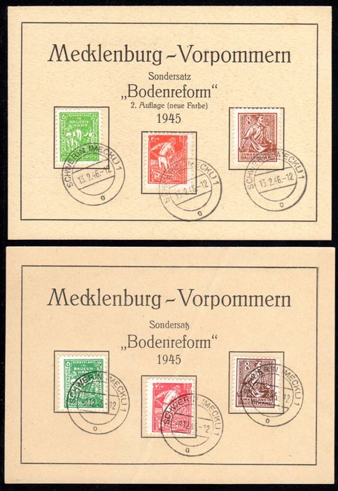 "Soviet Zone 1945 - Mecklenburg Vorpommern ""Bodenreform"" 8 Pfg. – 12 Pfg. Both colours on first day of issue cards - Michel 23 - 25a/b"