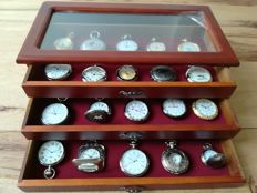 Collection of 30 Hachette pocket watches in original watch case.
