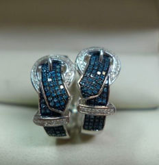 Earrings, creoles 925 silver with approx. 126 blue diamonds and approx. 60 white diamonds approx. 0.50 ct, approx. 2 cm long
