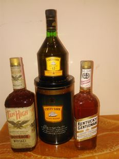 3 bottles - Curry Sark 12 years old, Ten High (1 litre) & Kentucky Gentleman