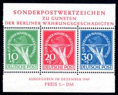 Berlin 1949 - 'aid set 10 + 5 Pf to 30 + 5 Pf stamp block - Michel block 1