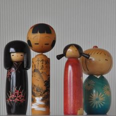Producer unknown - Wooden vintage Kokeshi ningyô puppet family