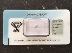 0.19 ct Brilliant cut diamond - E, VS1