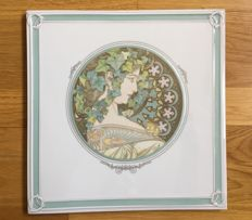 Hutschenreuther, Germany / Alfons Mucha 'Ivy', Limited Edition - Ceramic Tile