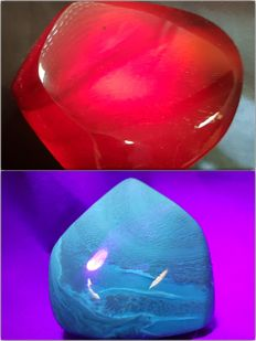 Polished Blue-Red Indonesian Amber – 70% Natural Stone - 70 mm - 40mm