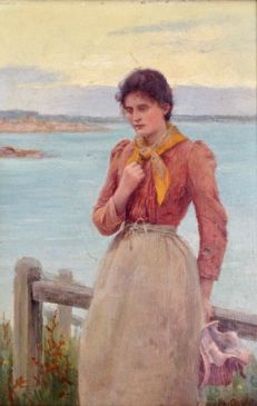 Percy Robert Craft (1856-1934) - A fisherman's wife waiting by the shore