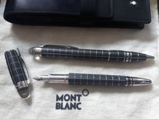 Montblanc Starwalker duo-set ballpoint and fountain pen - 14k gold nib - including Montblanc hard leather cover