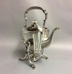 Silver plated kettle, so-called bouilloire, Birmingham, England, ca. 1860