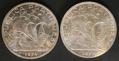 Portugal – 10 Escudos in SILVER – 1954 and 1955 – Portuguese Republic – Lisbon – FDC – LAST YEARS MINTED